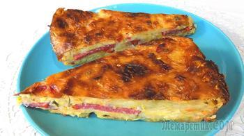 Овощная запеканка из кабачков с колбасой