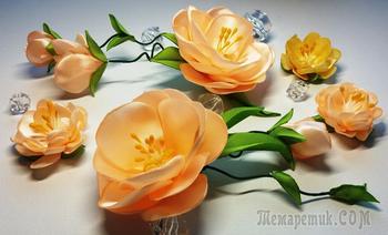 Цветы из лент:быстро и легко.МК