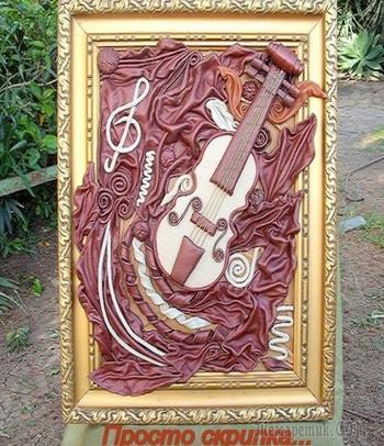 """""""Первая скрипка"""" (Картина из натуральной кожи)"""