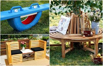 17 примеров самодельной садовой мебели, которая идеально подойдет для обустройства придомной территории