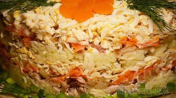 Слоеный САЛАТ с копченой курицей и колбасным сыром на Праздничный стол