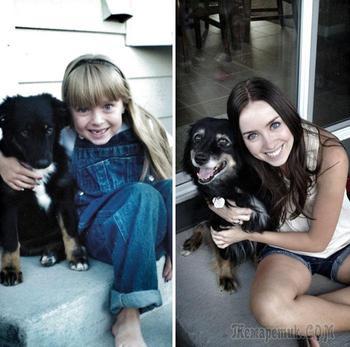 До и после: 17 собак выросших вместе со своими владельцами