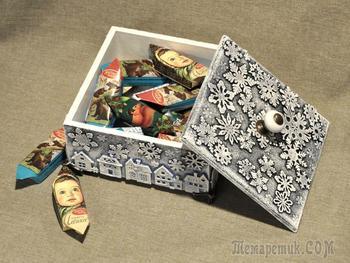 Декорируем деревянный короб для подарка