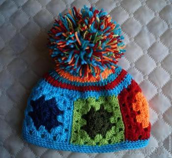 """Вязание шапочки из остатков пряжи, или """"Любимый бабушкин квадрат"""""""