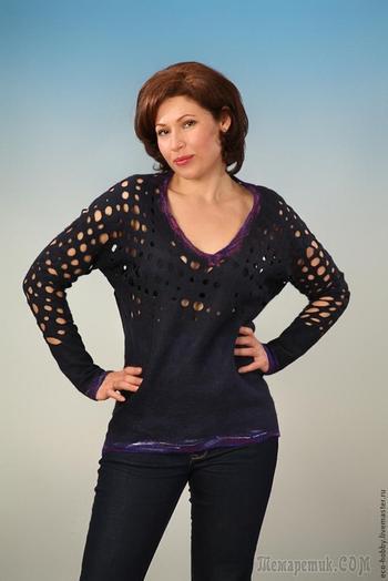 Валяем пуловер из австралийского кардочеса
