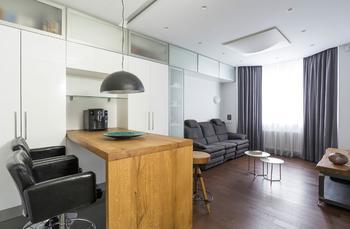 Дизайн двухкомнатной квартиры 43 кв. м. с управляемой подсветкой