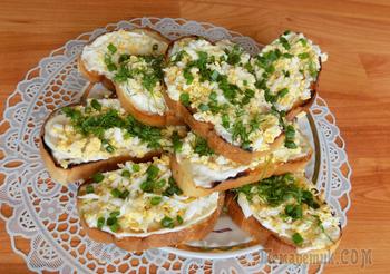 Закусочные острые бутерброды с чесноком и яйцом. Видео рецепт