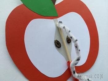 Аппликация яблоко с движущийся гусеницей+Шаблон