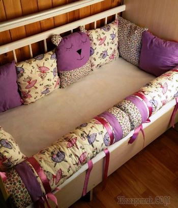 Как сшить бампер в кроватку для новорожденных своими руками: выкройка