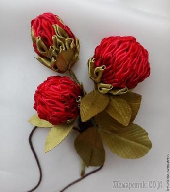 """Делаем цветок в технике канзаши для бутоньерки """"Клевер луговой. Алый рассвет"""""""