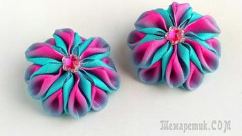 Яркие Бантики зефирки из лент. Мастер класс: цветы канзаши