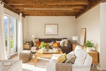 Солнечный интерьер дома в рустикальном стиле в стране Басков