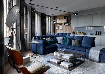 Мужская квартира в красивой темной гамме в Москве (108 кв. м)