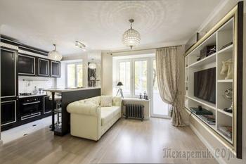 Арт-деко в интерьере однокомнатной квартиры 29 кв. м.