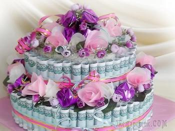 Торт из денег своими руками на свадьбу, юбилей, День рождения с поздравлениями: идеи, схема, описание