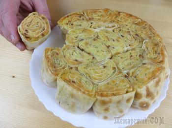 Проще не бывает! Отрывной пирог из лаваша с картофелем и сыром