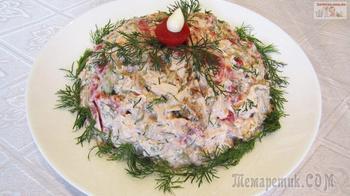 Салат с баклажанами, помидорами и куриным филе
