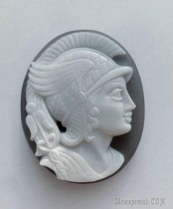 "Камея ""Меркурий"", сапфириновый оникс, 39 х 48 мм."
