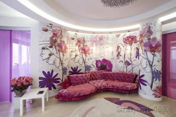 Интерьер квартиры в фиолетово-розовых тонах