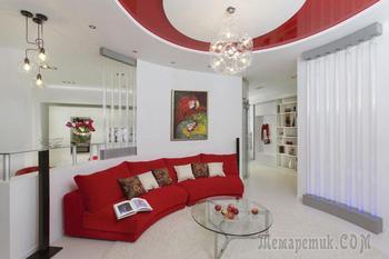 Красно-белый интерьер квартиры нестандартной планировки