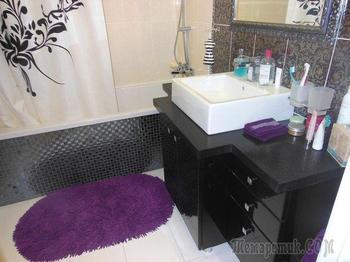 Ванная: черный потолок, стразы и итальянский багет