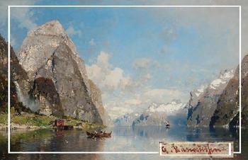 Живописная панорама норвежских фьордов на картинах художника Расмуссена, который творил 150 лет назад
