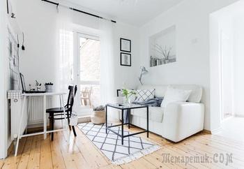 Скандинавская квартира 35 м² для семьи с двумя детьми