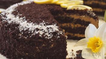 Шоколадный торт на Кипятке с карамельным кремом. Супер Вкусный Шоколадный торт!