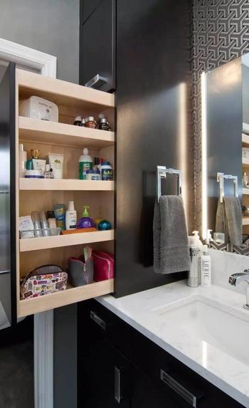 Идеи выдвижных полок для ванной