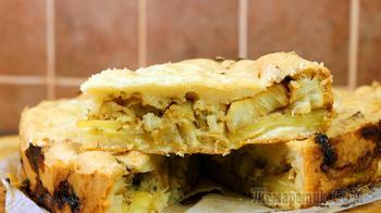 Пирог заливной рыбный с картофелем