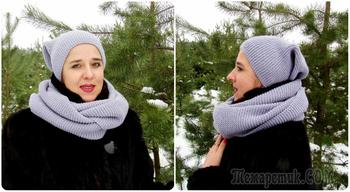 Вязание шапки бини и снуда платочной вязкой
