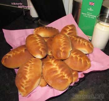 Пирожки с повидлом /джемом ( на дрожжевом безопарном тесте - плетение ёлочкой)