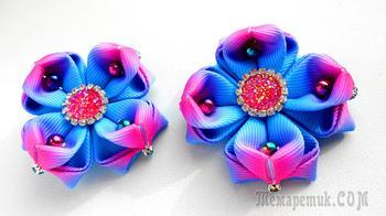 Цветы из лент. Бантики Зефирки Канзаши