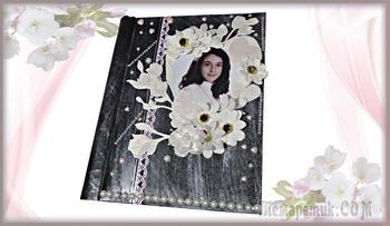 Декор фотоальбома своими руками для девочки. Декор цветами