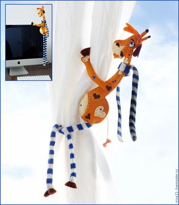 Мастерим из фетра подхват для штор «Жирафленок Пеппи»