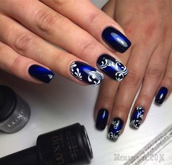 Красивый синий маникюр — Оригинальные идеи дизайна ногтей