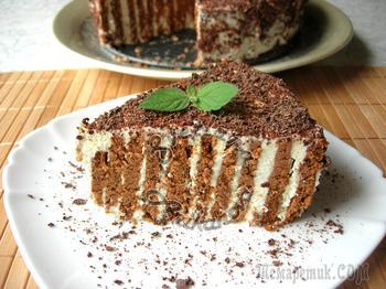 Полосатый торт без выпечки, всего за 20 минут