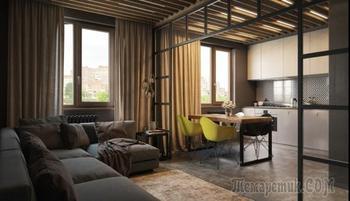 Интерьер чердачного типа в квартире 65 кв.м.