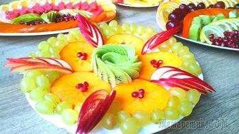 Красивая фруктовая нарезка на Новогодний стол. Три фруктовые тарелки