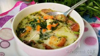 Сырный суп с грибами и чесночными гренками
