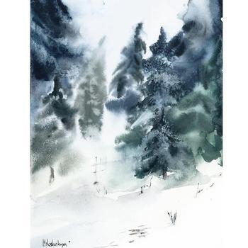 Новый скетчбук Зимний пейзаж