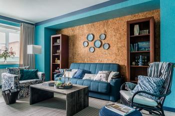 Натуральные материалы и все оттенки синего: квартира в Химках