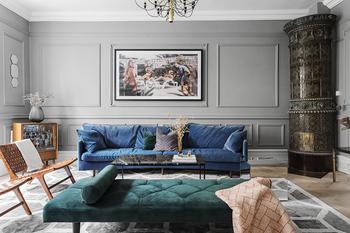 Смелые тона, классический характер и современный декор: великолепная квартира в Стокгольме