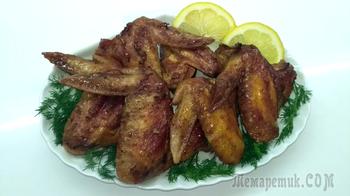 Куриные румяные крылышки в медово-соевом маринаде