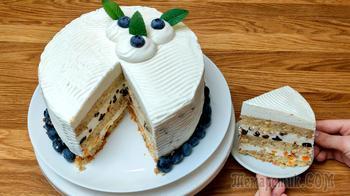 Торт с орехами и сливочным суфле