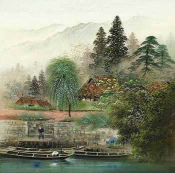 Роспись на шёлке. Пейзажи художника из Японии Koukei Kojima