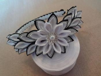 Черно-белый обруч канзаши – мастер-класс по созданию стильного украшения