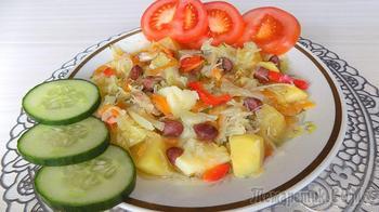 Овощное рагу из картошки с фасолью и капустой