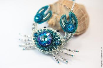 Вышиваем бисером краба с кристаллами Swarovski