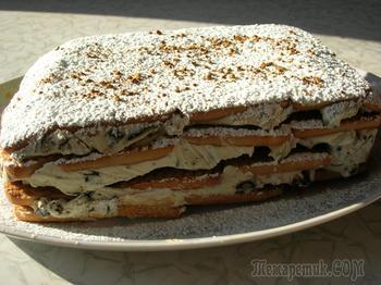 Торт с творогом и черносливом без выпечки